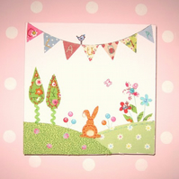 Personalised Bunny Meadow Block Canvas