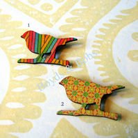 Autumn Wooden Bird Brooch