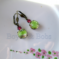 Pink and Green Glass Earrings