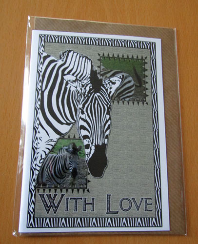 Zebra - Artwork greeting card, With Love