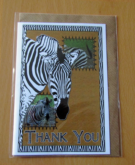 Zebra - Wildlife art greeting card - Thank You - Fearneve