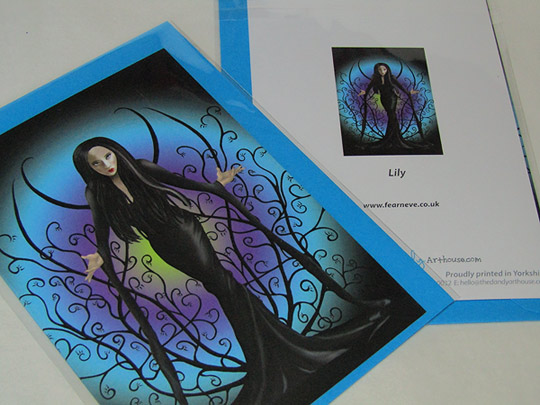 Lily - Artwork Greeting Card, Goth, Wiccan, Pagan Art