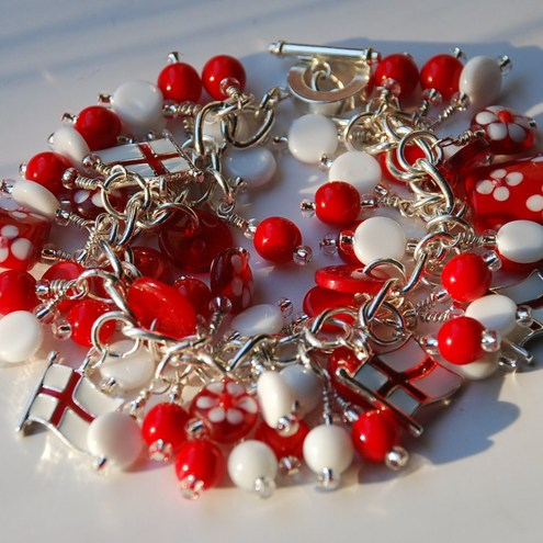 """England"" - red & white silver-plated charm bracelet- RESERVED for RT."