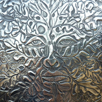Green Man plaque in pewter