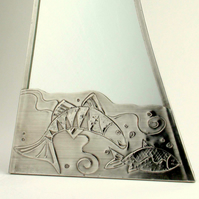 Bathroom mirror.Pewter. Big fish little fish.