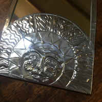 Pewter Sun mirror. Iconic sun design, benevolent sun face, shining with all his