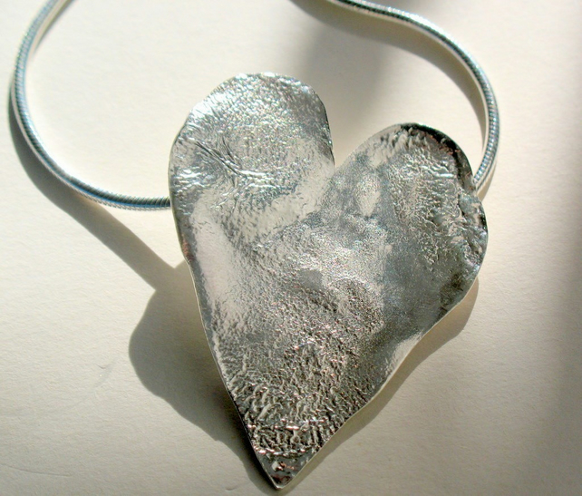 Big and bold battered Sterling Silver heart pendant