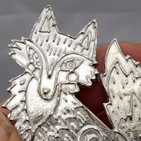 Pewter fox brooch