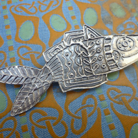Fish brooch, pewter pin.