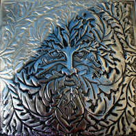 Pewter Green Man of the Oaks original metal wall art