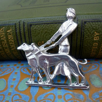 Art deco brooch, Lady walking dogs
