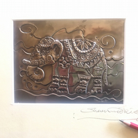 Elephant picture made of pewter