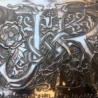 Wedding gift, couples initials custom made in pewter.