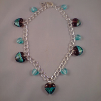 Glass heart charm necklace