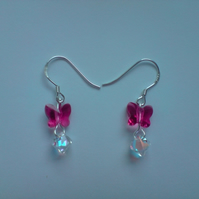 Swarovski butterfly sterling silver earrings