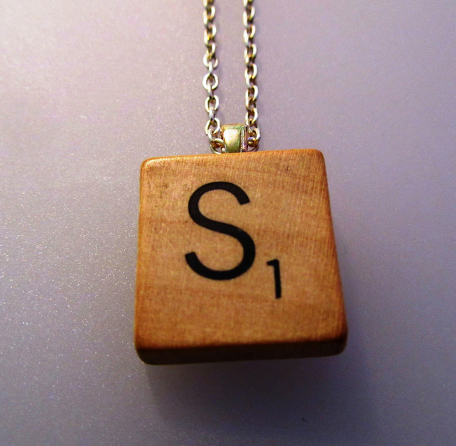 Vintage Scrabble letter 'S' necklace