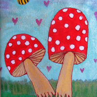 Autumn Painting with Toadstools
