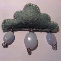 Cloud and Raindrops Brooch