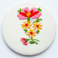 Vintage Embroidery Pocket Mirror