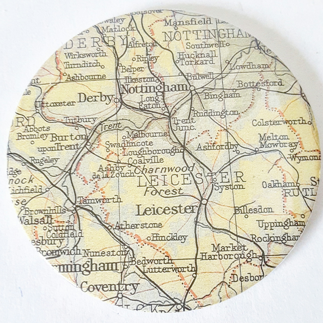 Vintage Map Pocket Mirror