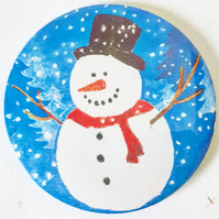 Snowman Pocket Mirror