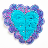 Textile Embroidered Heart Brooch