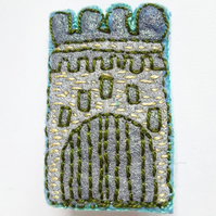 Textile Castle Embroidered Brooch