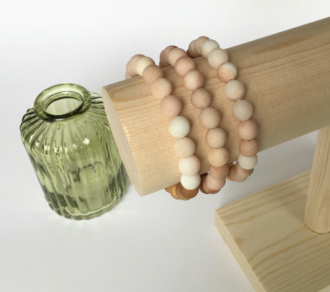 Peach Melba Diffuser Bracelet with Jade Beads