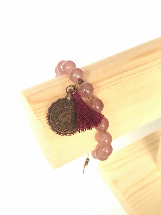 Plum Beaded Bracelet with Jade Beads and Copper Charm
