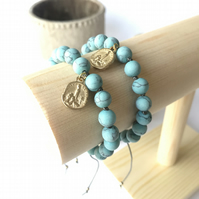 Gold St Christopher Charm Bracelet with Stone Turquoise Beads