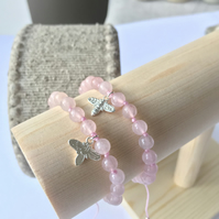 Silver Bee Charm Bracelet with rose quartz beads