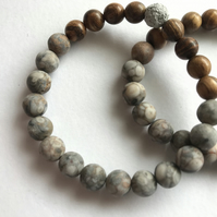 Natural Medicinal Stone Diffuser Beaded Bracelet with Sandalwood Beads