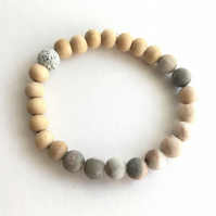 Natural Stone Agate Beaded Bracelet - Agate Stone Beads - Wooden Beads