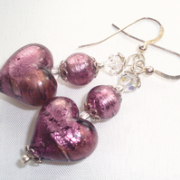 Purple Murano glass and silver earrings.