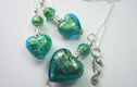 Murano Glass Pendant and Earrings Sets.