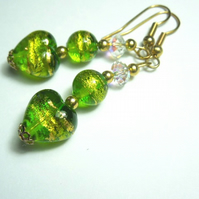 Green,gold Murano glass and Swarovski crystal earrings.
