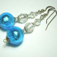 Silver and Turquoise Murano glass and Swarovski crystal earrings.