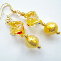 Gold Murano glass drop  earrings on gold filled hooks.