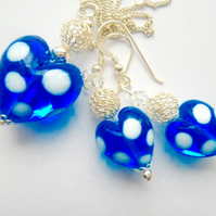 Blue and white polka dot Murano glass pendant and earring set.