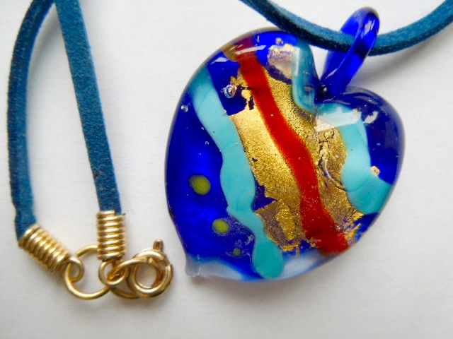 Blue gold and red Murano glass heart pendant