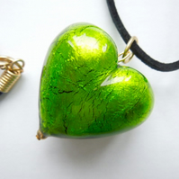 Lime green Murano glass large heart pendant.
