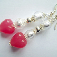 Pink satin and silver  Murano glass earrings.