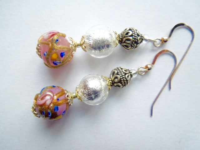 Silver, pink, gold Murano glass silver earrings.