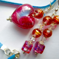 Pink, gold and blue Murano glass pendant and earrings set.
