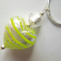 Silver and green Murano glass heart pendant with sterling silver chain.