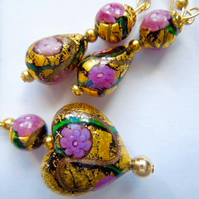 Gold,pink and black Murano glass Klimt pendant and earring set.