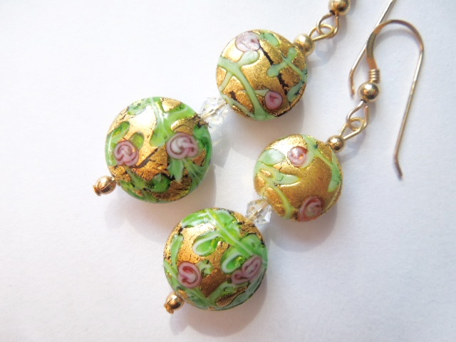 Gold decorated Murano glass earrings with Swarovski.