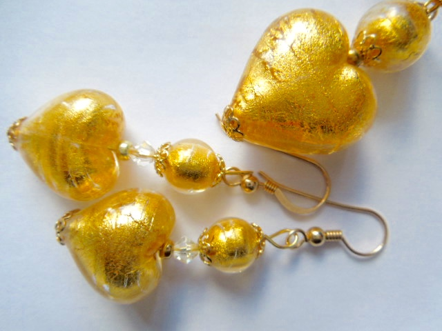 Gold Murano glass pendant and earring set with gold filled chain.