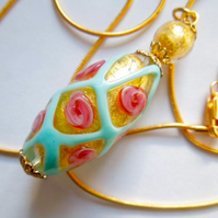 Decorated gold  Murano glass pendant