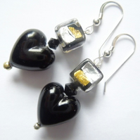 Black and silver Murano glass drop earrings with Swarovski.
